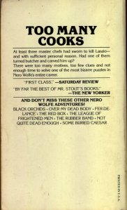 Too Many Cooks - A Nero Wolfe Mystery By Rex Stout - February 1979 - Rear Cover