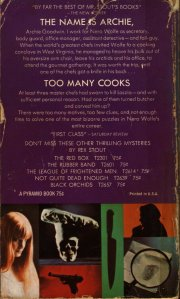 Too Many Cooks - A Nero Wolfe Mystery By Rex Stout - April 1972 - Fifth Printing - Rear Cover