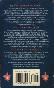 The Silent Speaker - Bantam Reissue - February 1994 - 13th Printing - Rear Cover