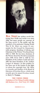 Rex Stout - The Doorbell Rang Inside Back Cover 1965 First Edition Third Printing